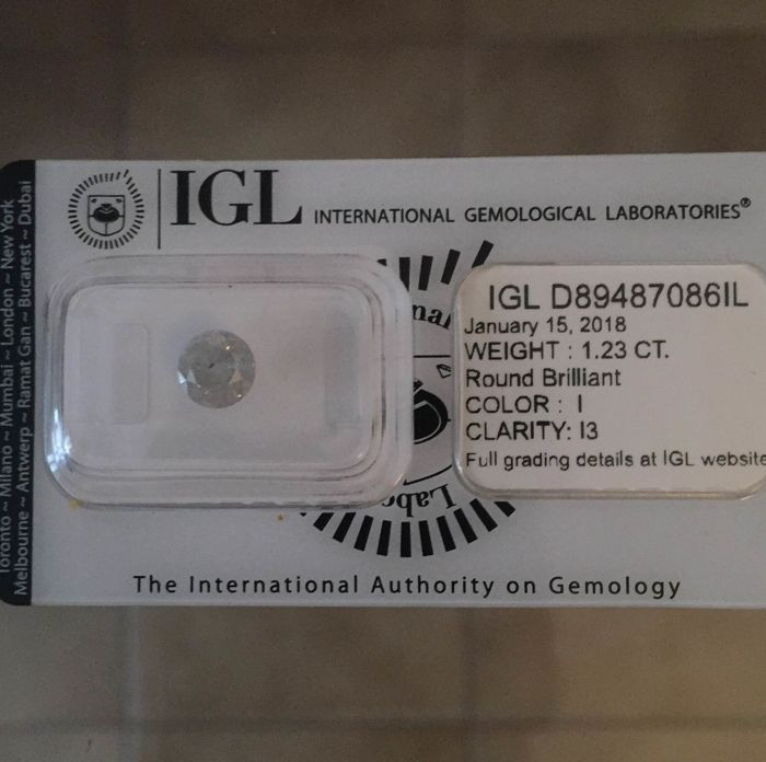 Brilliant cut diamond for 1.23 ct, colour: I, clarity: I3 - ***Low Reserve Price***