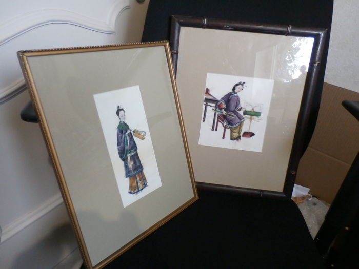 Two good framed rice paper paintings - China - 19th century