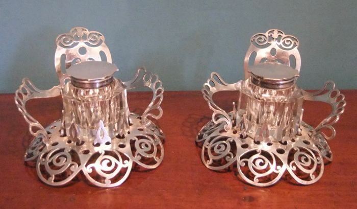 Pair of Large English Art Nouveau Silver Plated Ink Stands by W. Hutton - Sheffield - c. 1890