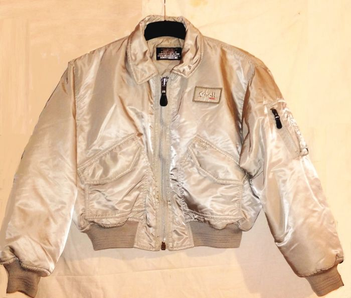 SCHOTT - silver, CWU  FlighT Pilot Bomber  JACKET, made in USA, RARE