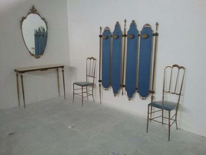 Unknown Designer - entrance furniture including coat rack, two chairs with high backrest and console with marble