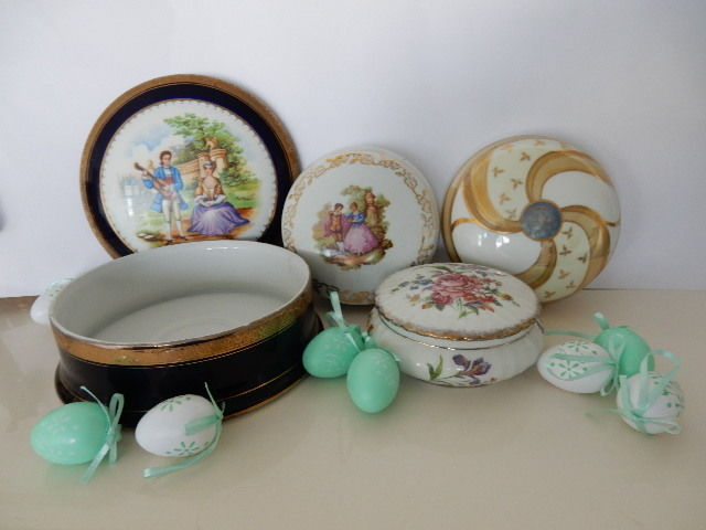 Very nice set of four and old candy boxes / jewelry boxes Limoges porcelain with gallant Fragonard - 20th century - France