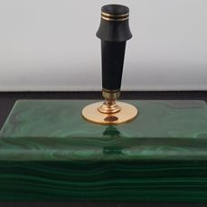Malachite exquisite massive Art Deco pen holder