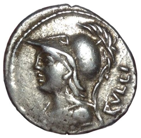 Roman Republic - P. Servilius M.f. Rullus - AR Denarius (20/19mm; 3.97gm), mint of Rome c. 100 BC - Bust of Minerva / Victory in biga - Cr. 328/1