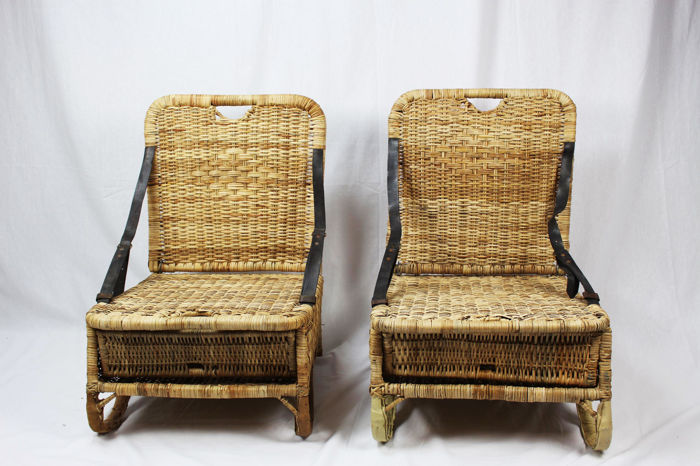 Set of vintage rare foldable American rattan camping / canoe / picnic / fishing seats
