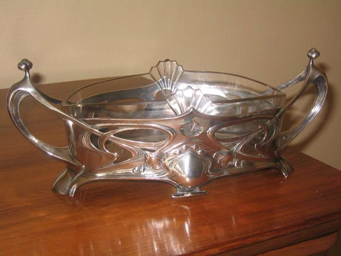 Art Nouveau, silver plated planter / table centrepiece