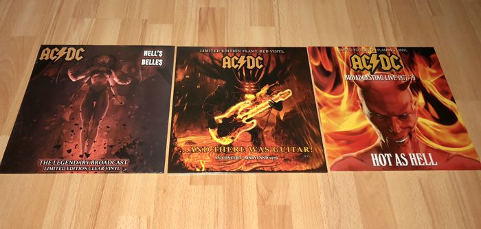 AC/DC - Great lot of 3 coloured limited edition lp`s;Hells Belles (Clear coloured vinyl)+And There Was Guitar (Red coloured vinyl)+Hot as Hell (Flaming coloured vinyl)
