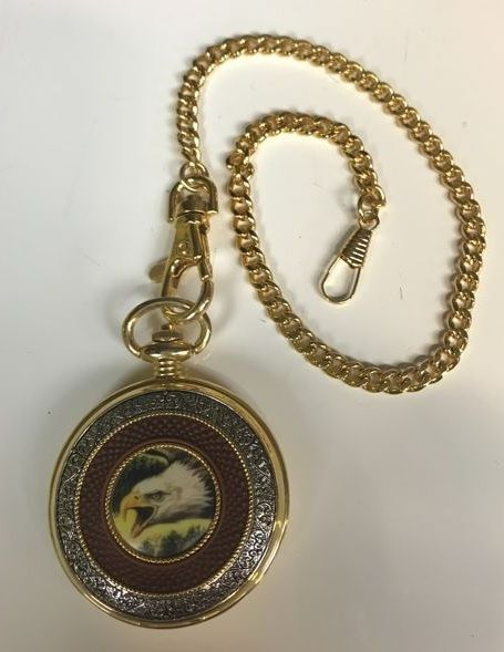 "Pocket Watch Franklin Mint - ""The-Alaska-ChilKat Bald-Eagle"" - 24 k gold plated"