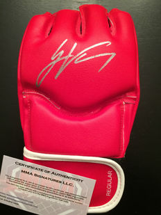 Red UFC gloves signed by Jamie Varner with certificate of authenticity
