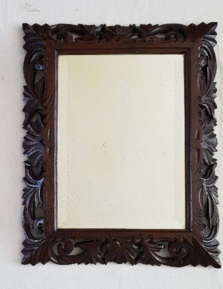Mirror facet cut glass with a frame of wood carving - France - 19th ...