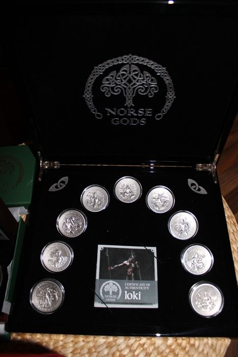 Cook Islands - 10 and 25 Dollars 2015/2016 'Norse Gods' (10 coins) complete set 9 x 2 oz + 1 x 5 oz - silver