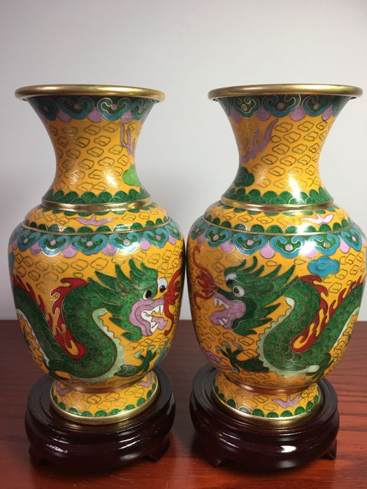 A Pair Of Cloisonne Vases Decorated With Dragons And Phoenix China
