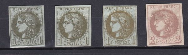 France 1870 – Bordeaux emission 1c olive reports 1, 2 and 3, and 2c brown red report 2 which is signed by Calves – Yvert between #39A and 40B