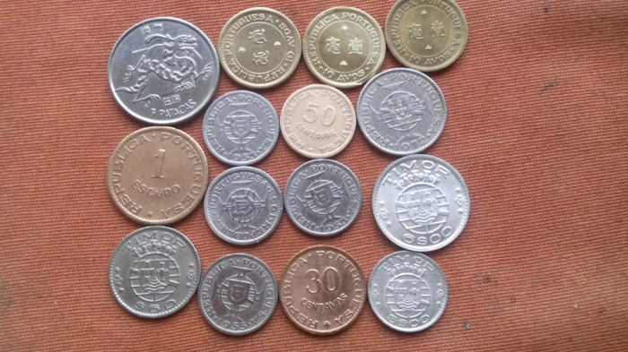 Angola/Macau/Mozambique/Timor – Portugal, Republic – 15 Coins – 1952 to 1975