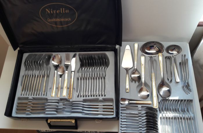 Nivella - gold plated luxury cutlery set -23/24 karat - used - in black box