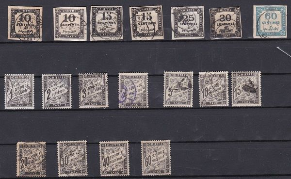France 1859/92 – Selection of Postage Due Stamps – Yvert between #1 and 21