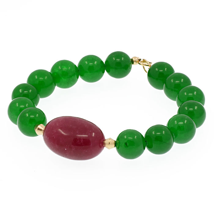 18kt/750 yellow gold bracelet with emeralds and ruby - Length, 19 cm.