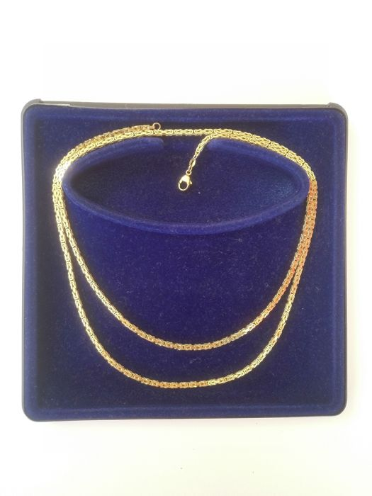 14 kt gold necklace, length 80 cm, thickness of necklace 2 mm, weight 35 g