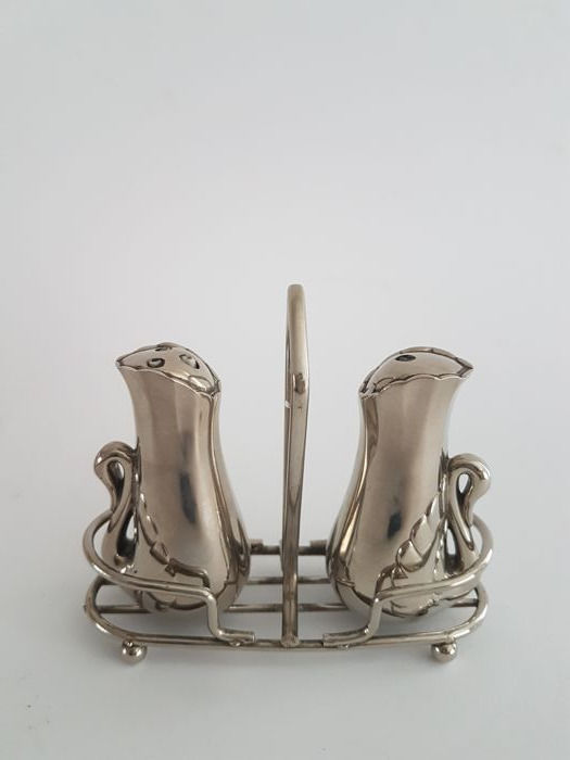 Silver plated salt and pepper shakers with swans