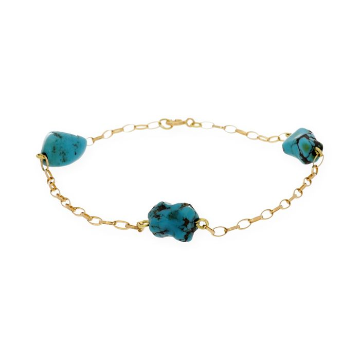 18 kt (.750) Yellow Gold - Bracelet - Irregular Turquoises of 7 mm (approx.) - Length: 18 cm (approx.)