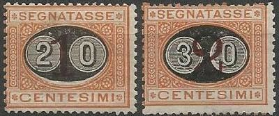 Kingdom of Italy 1890/1891 - 20 Cent on 1 and 30 Cent on 2, Mascherine - Sass. No. 18/19