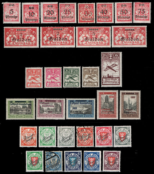 German Empire, Danzig 1923/32 - Lot of 4 series - Yvert 165/76, A 20/4, A 25/29, Ser. 37/47