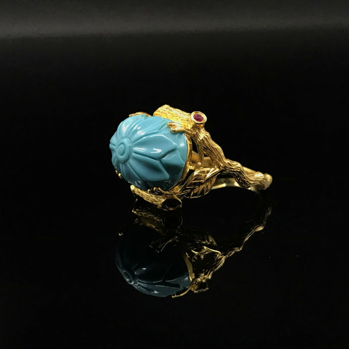 Turquoise -18k Gold Inlay Ring - Ruby - Original; Ring size: 13.5#