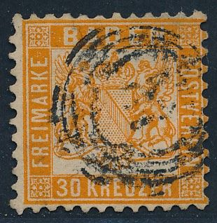 Baden - 1862 - coat of arms, 30 Kreuzer, dark yellowish orange, Michel 22b