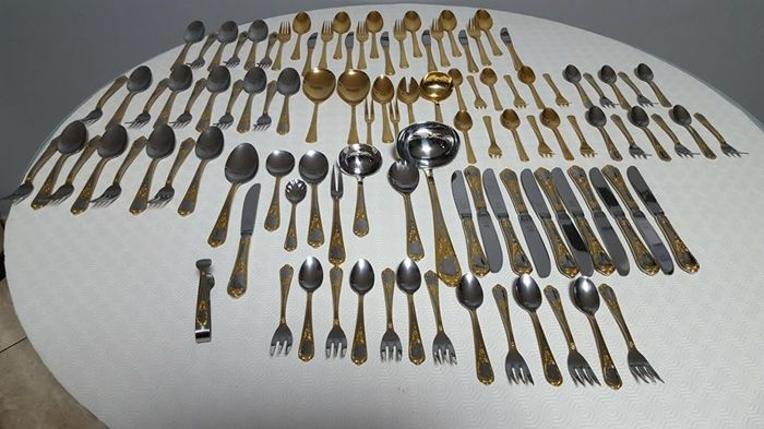 Solingen Imperial - Golden metal cutlery - 37 pieces for 6 people - an original case gold/golden PL750 + 1 golden heart cutlery set for 12 people - 69 pieces