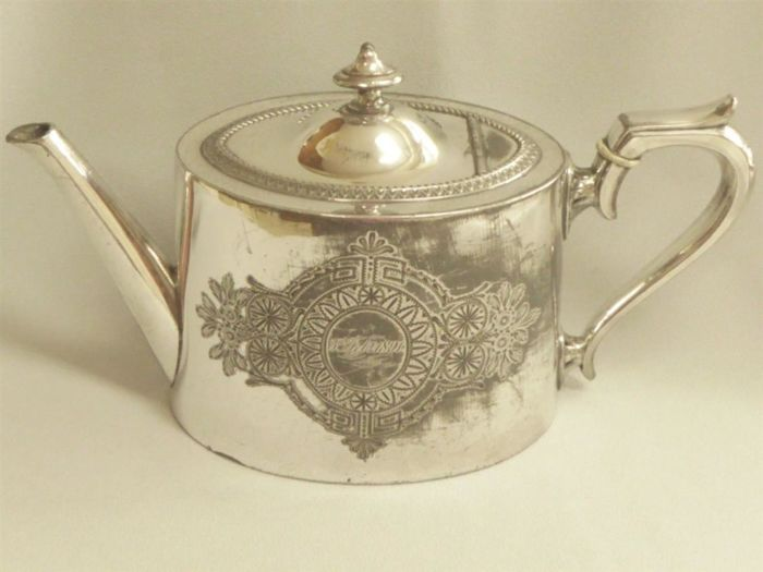 Old English, richly decorated silver plated Teapot, by Jd&S, with engraved date February 5, 1891