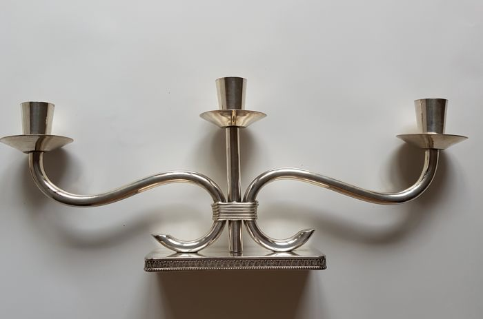 Silver Three-Light Short Candlestick Como, Italy, 1960s