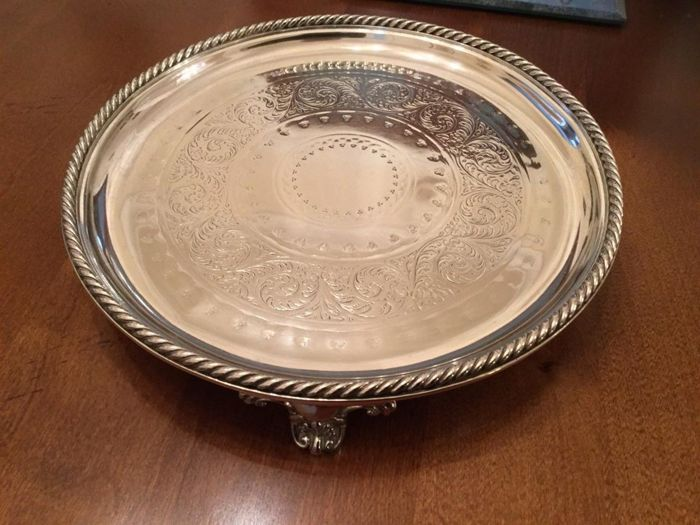 Beautiful tray with decorated edge with studs, English silver plated by Ellington circa 1878