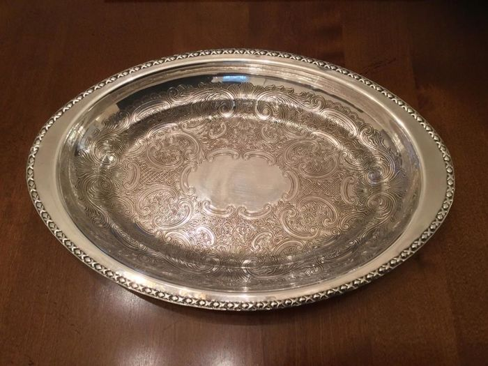 Beautiful chiselled silver plated English serving tray