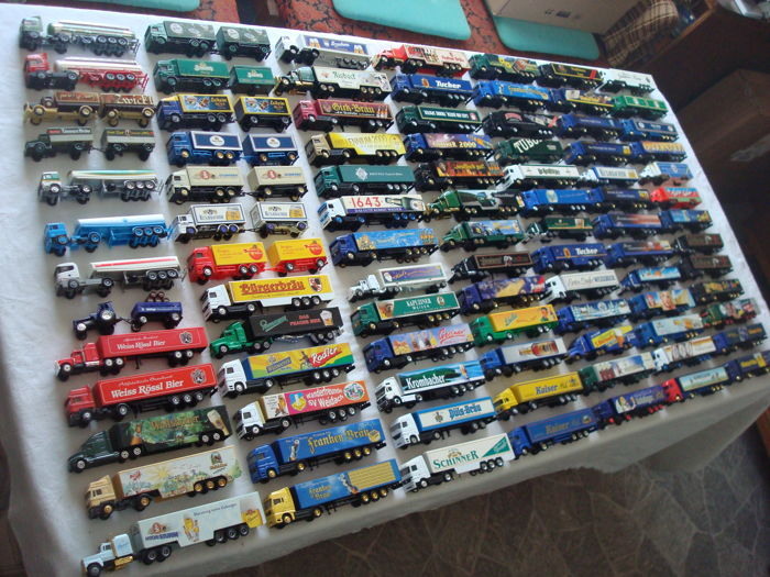 Collection - brewery trucks, advertising trucks, some rarities, in collection boxes, 91 pieces
