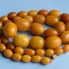 Antique natural Baltic amber egg yolk marble beads necklace, 60 grams