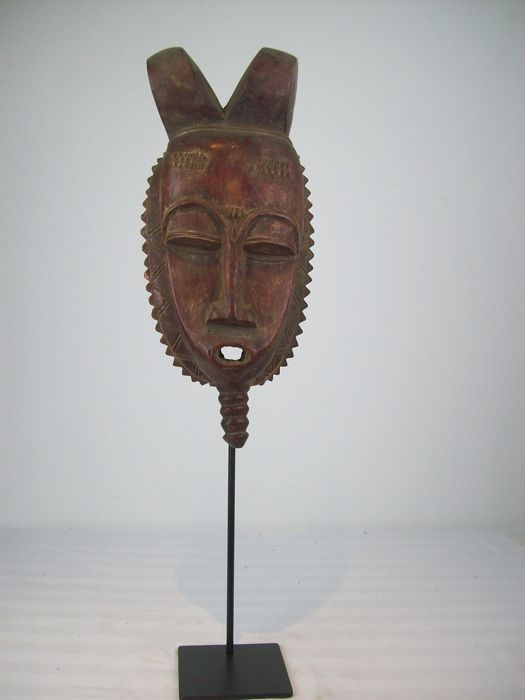 Red BAULE Wooden Mask, Africa, Ivory Coast, including Iron Stand