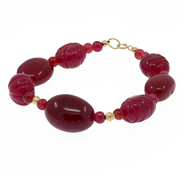 18k/750 yellow gold bracelet with rubies – Length 19.5 cm.