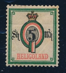 Helgoland - 1879 - Value number in oval 5 Sh / 5 M, polychrome Michel 20a, inspected Richter