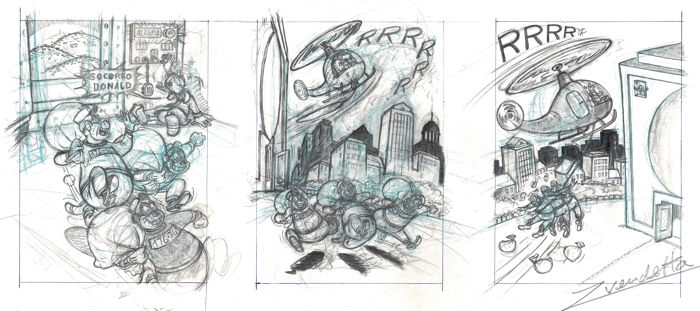 Vendetta, Z. - Original Pencil Triptych - Donald Duck, Uncle Scrooge & the Beagles