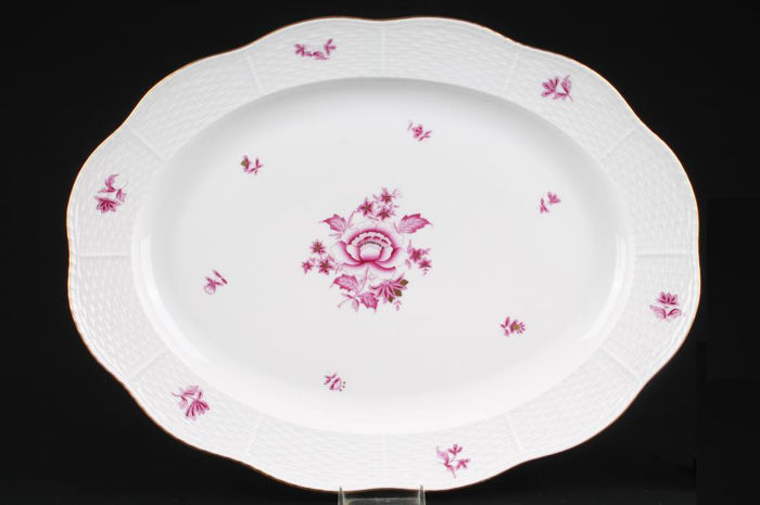 Herend Nanking Pink Bouquet Huge Platter, '36.5 cm', with Relief Decoration and Gold Trim