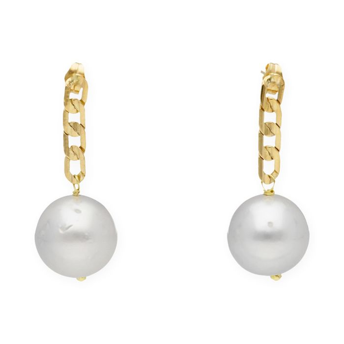 Yellow gold 18 kt/750 - Earrings - Australian South Sea Pearls of 13 mm (approx.) - Push back clasp