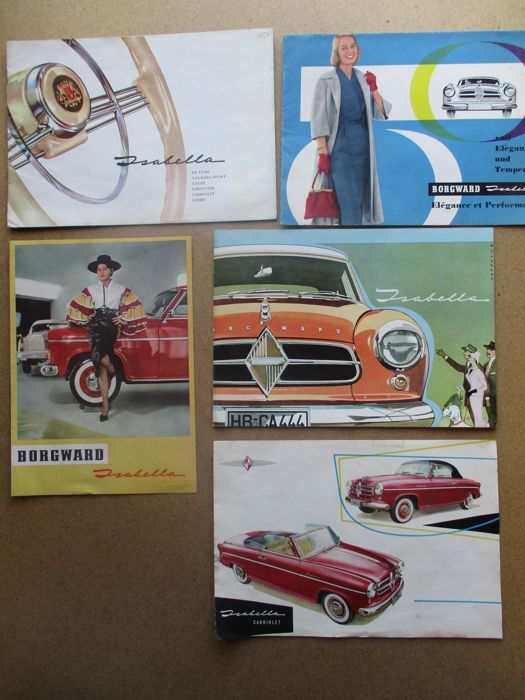 BORGWARD ISABELLA Limo, TS, Coupe Convertible, COMBI - Lot of 5 brochures