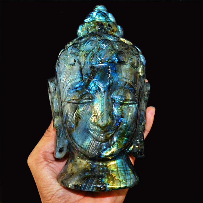 Amazing Golden & Blue Flash Labradorite Buddha Head - 160x110x65 mm - 7973.00 Cts