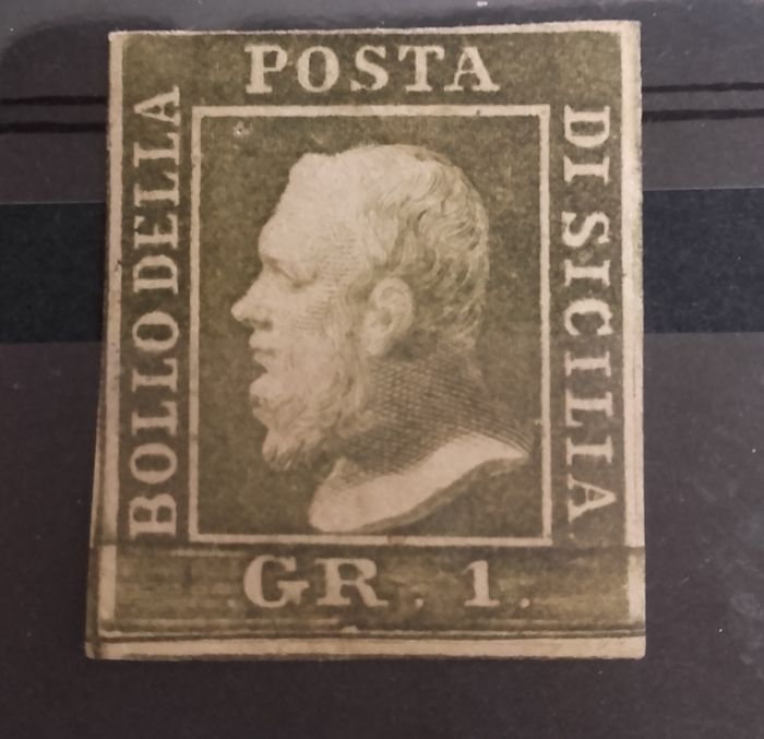 Sicily 1859 - 1 gr Olive green, plate III, Palermo postcard - Sassone No. 5d.