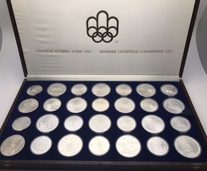 Canada - 5 and 10 Dollars 1973/1976 'Montreal Olympics 1976' (28 coins) complete - silver