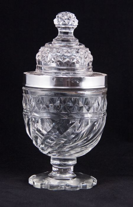 Matthew Boulton/James Watt - silver mounted glass condiment vase