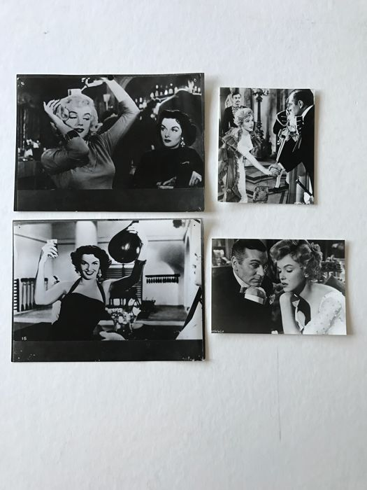 "4 photos of  Marilyn Monroe and Laurence Olivier in the film "" The prince and the Showgirl "", 1957."