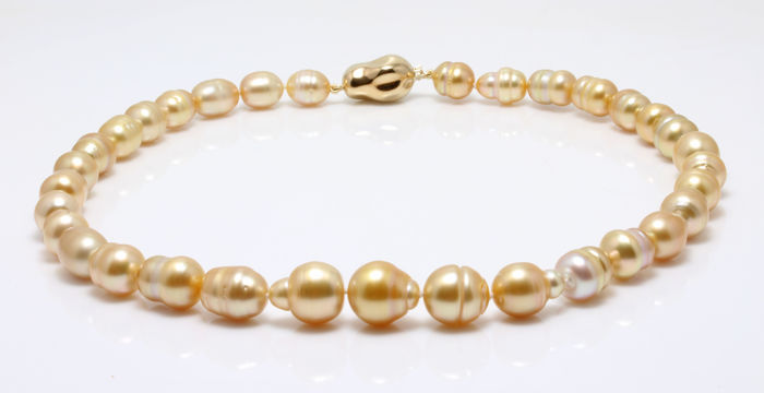 Organic Golden South Sea Pearl Necklace 9.4x13.2 mm Baroque Shaped featuring a Baroque Shaped Clasp - Authenticity Certificate Included
