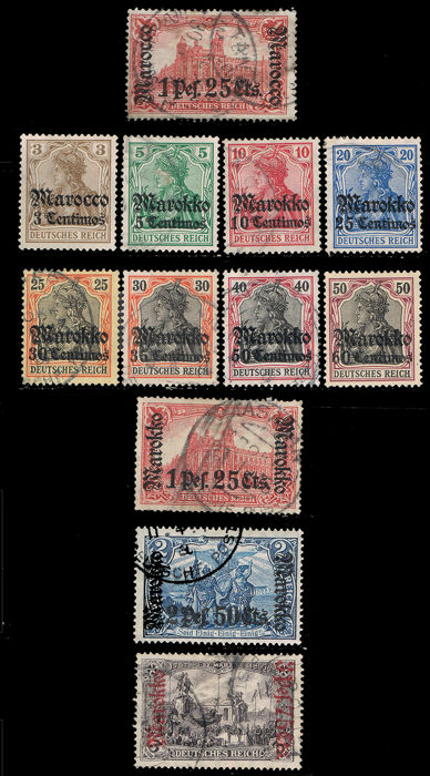 German Dispatch Morocco  Lot with Yvert 29, 33/40, 54, 55, 56