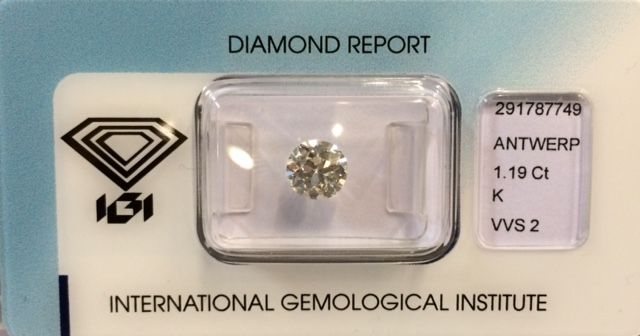 1.19ct Old European cut diamant - K - VVS2